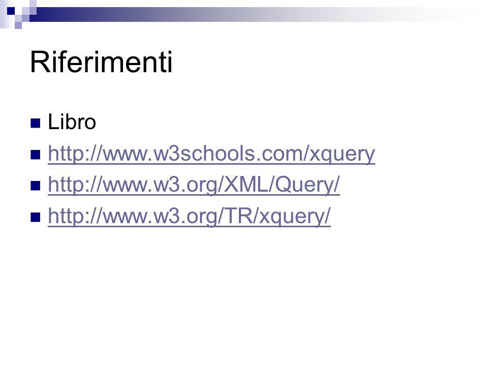 Riferimenti Libro http://www.w3schools.com/xquery http://www.w3.org/XML/Query/ http://www.w3.org/TR/xquery/