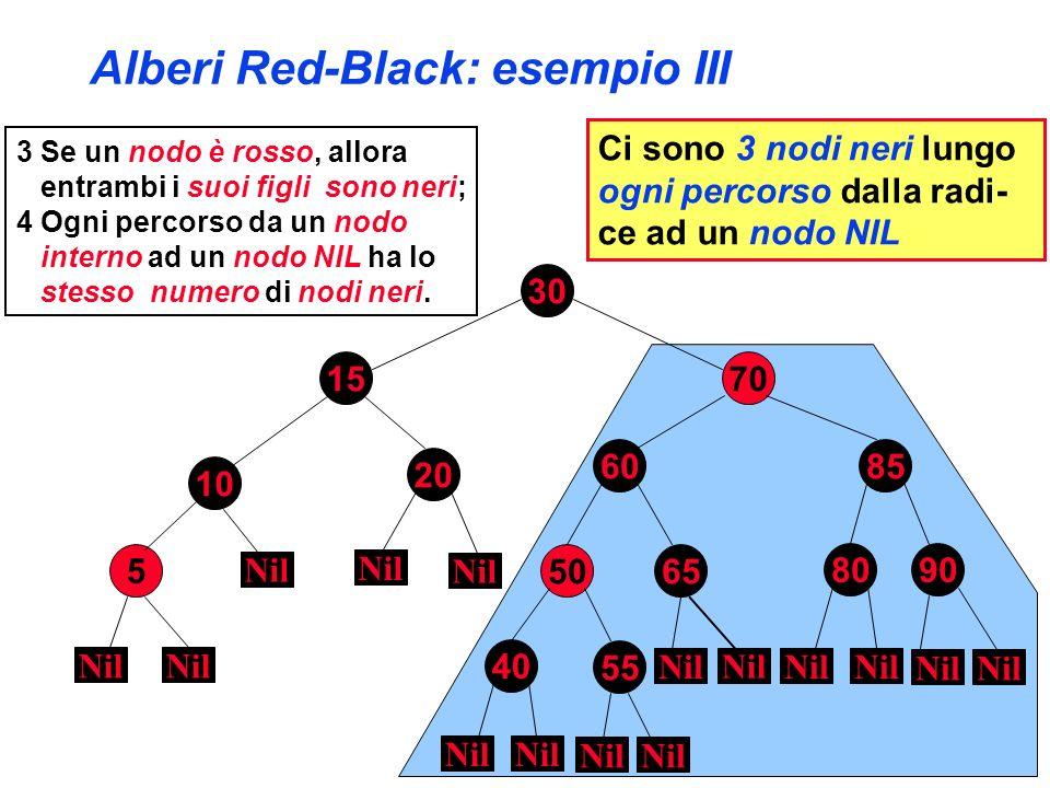 Alberi Red-Black: esempio III 3 Se un nodo è rosso, allora entrambi i suoi figli sono neri; 4 Ogni percorso da un nodo interno ad un nodo NIL ha lo st