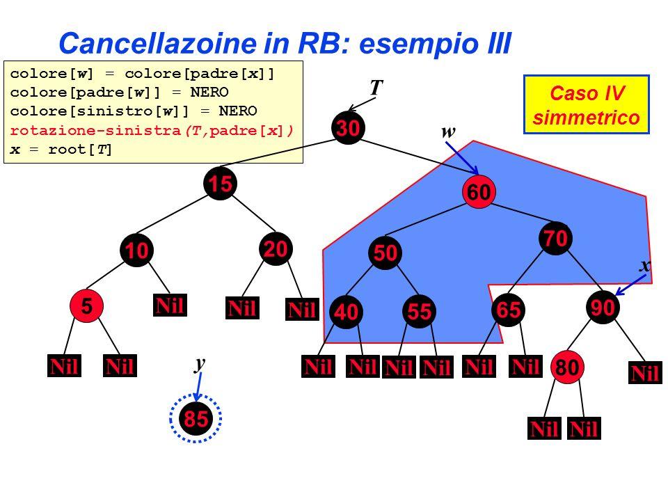 colore[w] = colore[padre[x]] colore[padre[w]] = NERO colore[sinistro[w]] = NERO rotazione-sinistra(T,padre[x]) x = root[T] Cancellazoine in RB: esempi