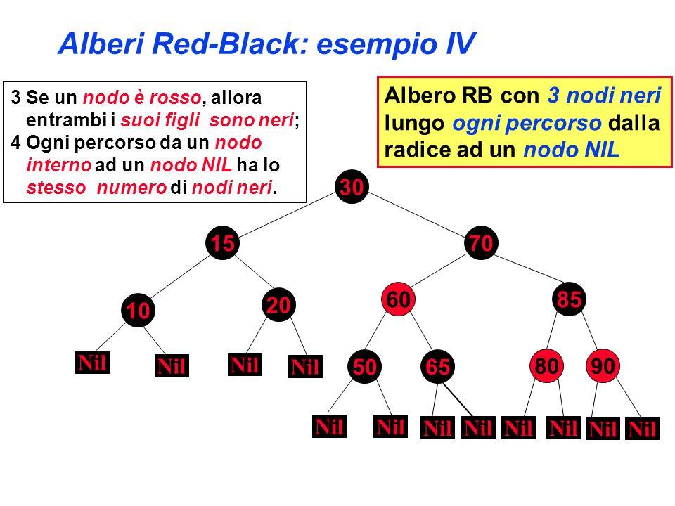 Alberi Red-Black: esempio IV 3 Se un nodo è rosso, allora entrambi i suoi figli sono neri; 4 Ogni percorso da un nodo interno ad un nodo NIL ha lo ste