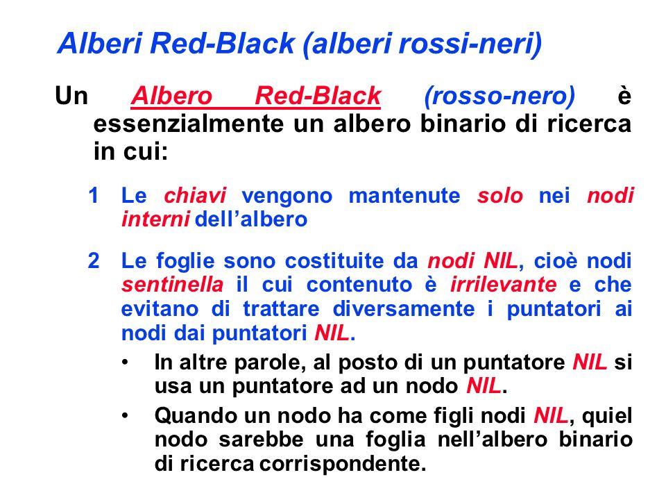 Alberi Red-Black (alberi rossi-neri) Un Albero Red-Black (rosso-nero) deve soddisfare le seguenti proprietà (vincoli): 1Ogni nodo è colorato o di rosso o di nero; 2Per convezione, i nodi NIL si considerano nodi neri; 3Se un nodo è rosso, allora entrambi i suoi figli sono neri; 4 Ogni percorso da un nodo interno ad un nodo NIL (figlio di una foglia) ha lo stesso numero di nodi neri;