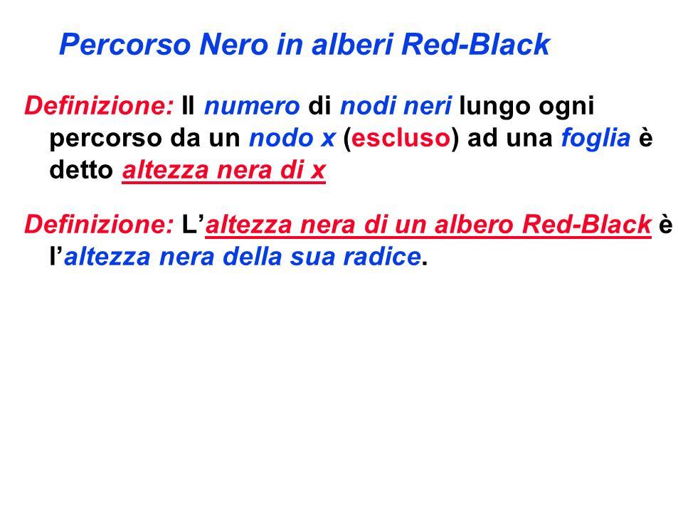 Percorso Nero in alberi Red-Black Definizione: Il numero di nodi neri lungo ogni percorso da un nodo x (escluso) ad una foglia è detto altezza nera di