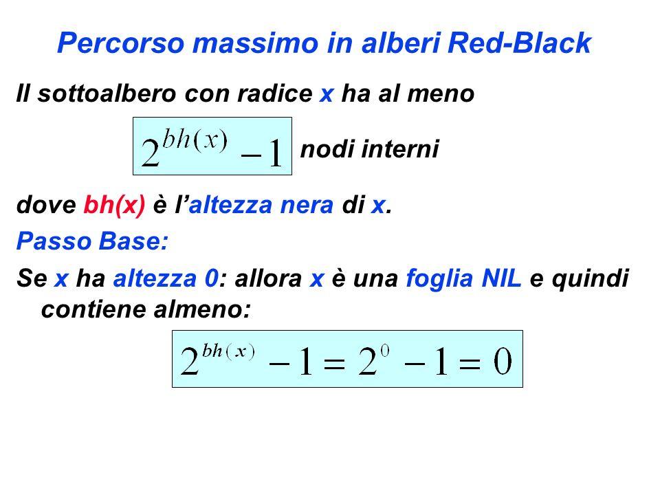 Percorso massimo in alberi Red-Black Il sottoalbero con radice x ha al meno nodi interni dove bh(x) è laltezza nera di x. Passo Base: Se x ha altezza