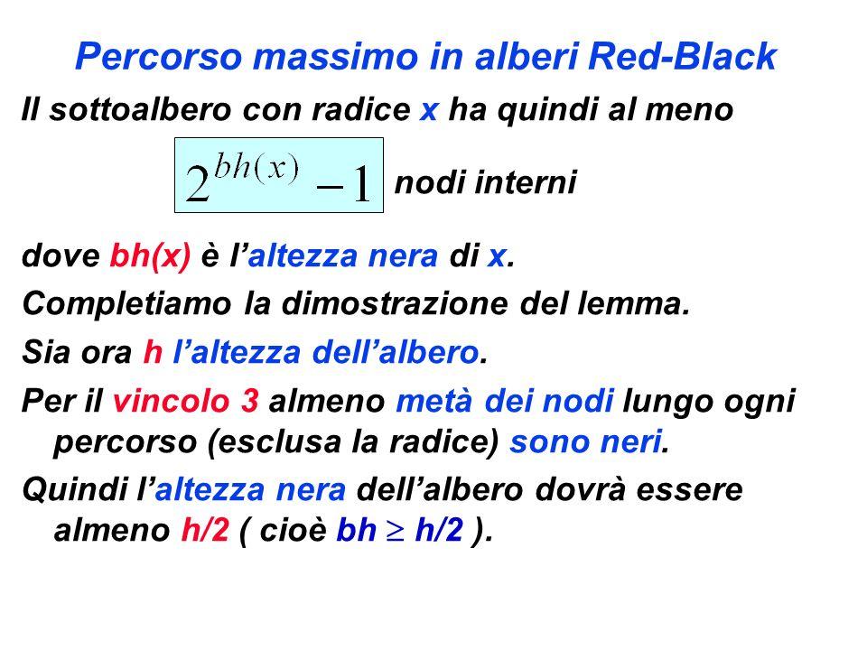 Percorso massimo in alberi Red-Black Il sottoalbero con radice x ha quindi al meno nodi interni dove bh(x) è laltezza nera di x. Completiamo la dimost