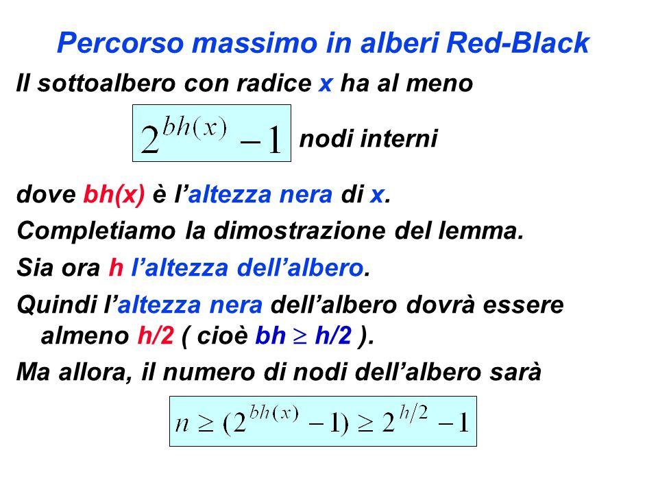 Percorso massimo in alberi Red-Black Il sottoalbero con radice x ha al meno nodi interni dove bh(x) è laltezza nera di x. Completiamo la dimostrazione