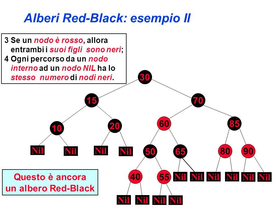 Inserimento in alberi Red-Black RB-Inserisci(T,x : albero-RB) ABR-Inserisci ( T,x ) colore[x] = ROSSO WHILE (x root[T] AND colore[padre[x]] = ROSSO) DO IF padre[x] = sinistro[padre[padre[x]]] THEN y = destro[padre[padre[x]]] IF colore[y] = ROSSO THEN colore[padre[x]] = NERO colore[y] = NERO colore[padre[padre[y]]] = ROSSO x = padre[padre[x]] ELSE IF x = destro[padre[x]] THEN x = padre[x] rotazione-destra(T,x) colore[padre[x]] = NERO colore[padre[padre[x]]] = ROSSO rotazione-sinistra(T,padre[padre[x]]) ELSE {come il THEN ma con destro e sinistro scambiati} colore[root[T]] = NERO