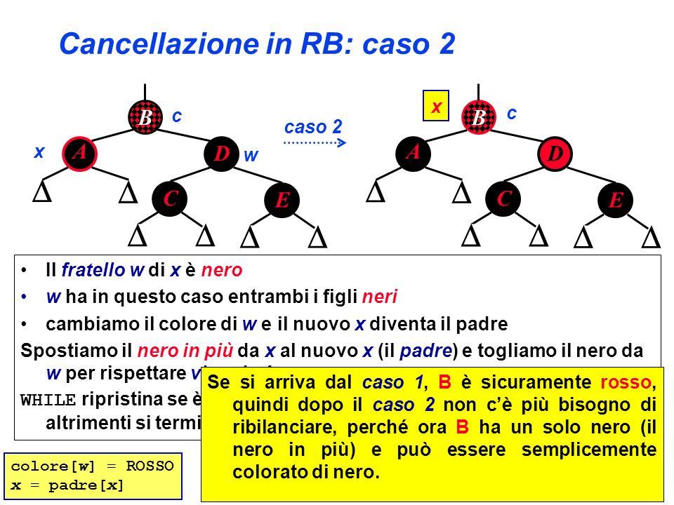 Cancellazione in RB: caso 2 B A D C x w caso 2 E B A D C x E c c colore[w] = ROSSO x = padre[x] Il fratello w di x è nero w ha in questo caso entrambi