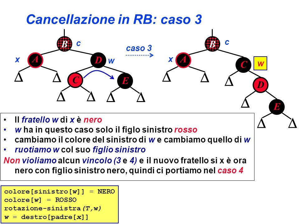 Cancellazione in RB: caso 3 B A D C x w caso 3 E B A D C x E c c w colore[sinistro[w]] = NERO colore[w] = ROSSO rotazione-sinistra(T,w) w = destro[pad