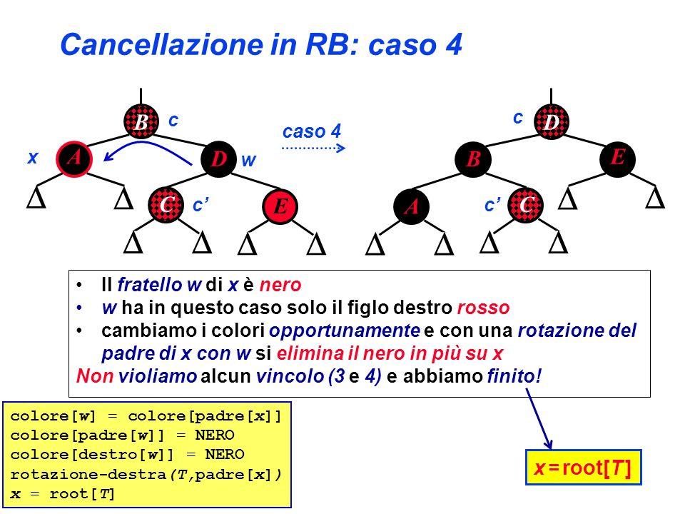 Cancellazione in RB: caso 4 B A D C x w caso 4 E c D E B C x = root[T ] A c cc colore[w] = colore[padre[x]] colore[padre[w]] = NERO colore[destro[w]]