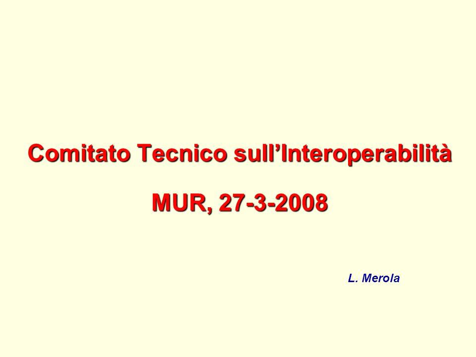 Comitato Tecnico sullInteroperabilità MUR, 27-3-2008 L. Merola