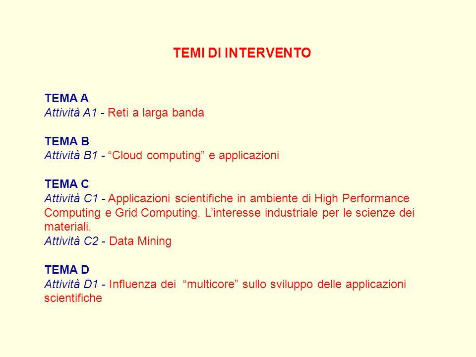 TEMI DI INTERVENTO TEMA A Attività A1 - Reti a larga banda TEMA B Attività B1 - Cloud computing e applicazioni TEMA C Attività C1 - Applicazioni scientifiche in ambiente di High Performance Computing e Grid Computing.