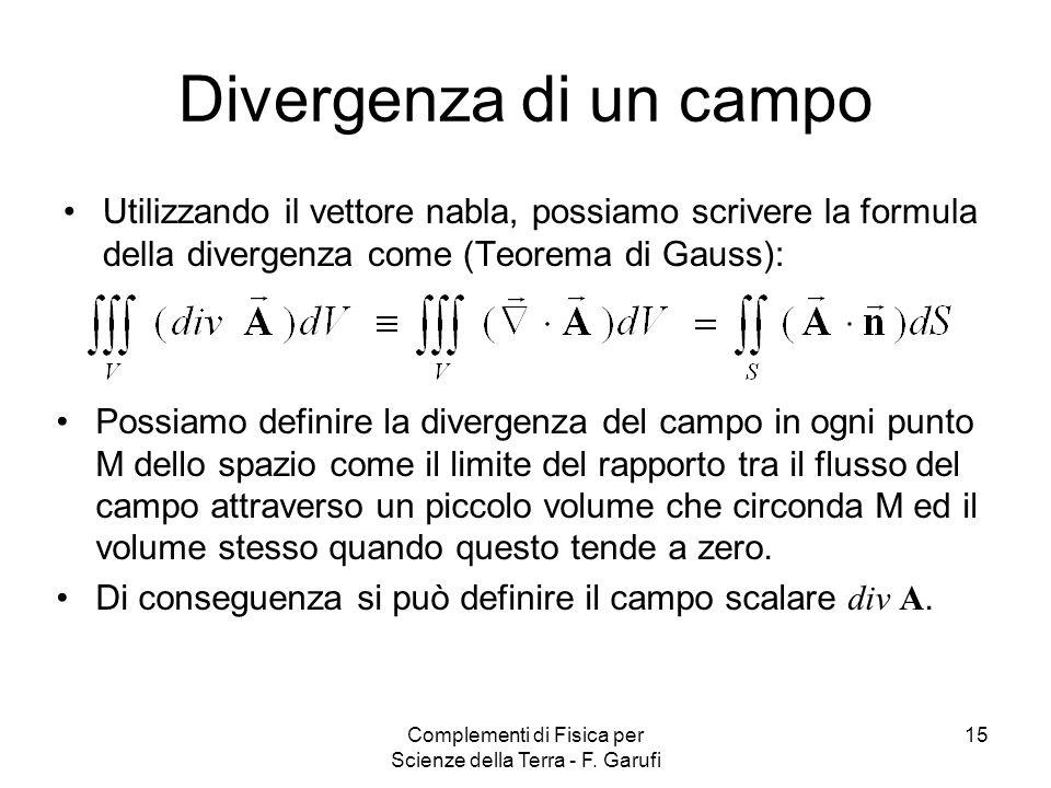 Complementi di Fisica per Scienze della Terra - F. Garufi 15 Divergenza di un campo Utilizzando il vettore nabla, possiamo scrivere la formula della d