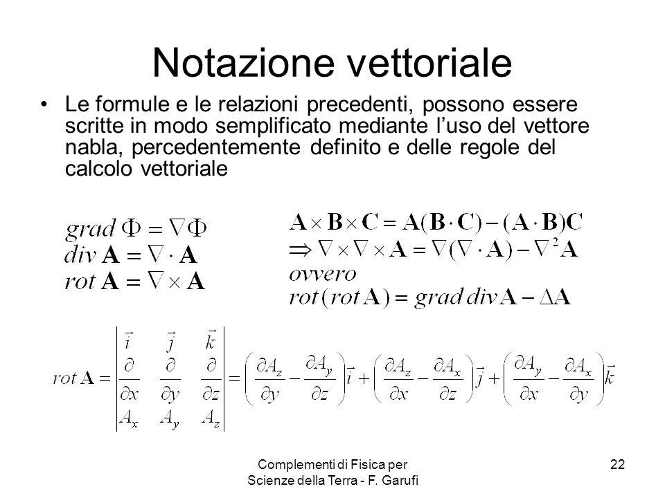 Complementi di Fisica per Scienze della Terra - F. Garufi 22 Notazione vettoriale Le formule e le relazioni precedenti, possono essere scritte in modo