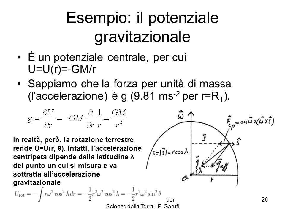 Complementi di Fisica per Scienze della Terra - F. Garufi 26 Esempio: il potenziale gravitazionale È un potenziale centrale, per cui U=U(r)=-GM/r Sapp