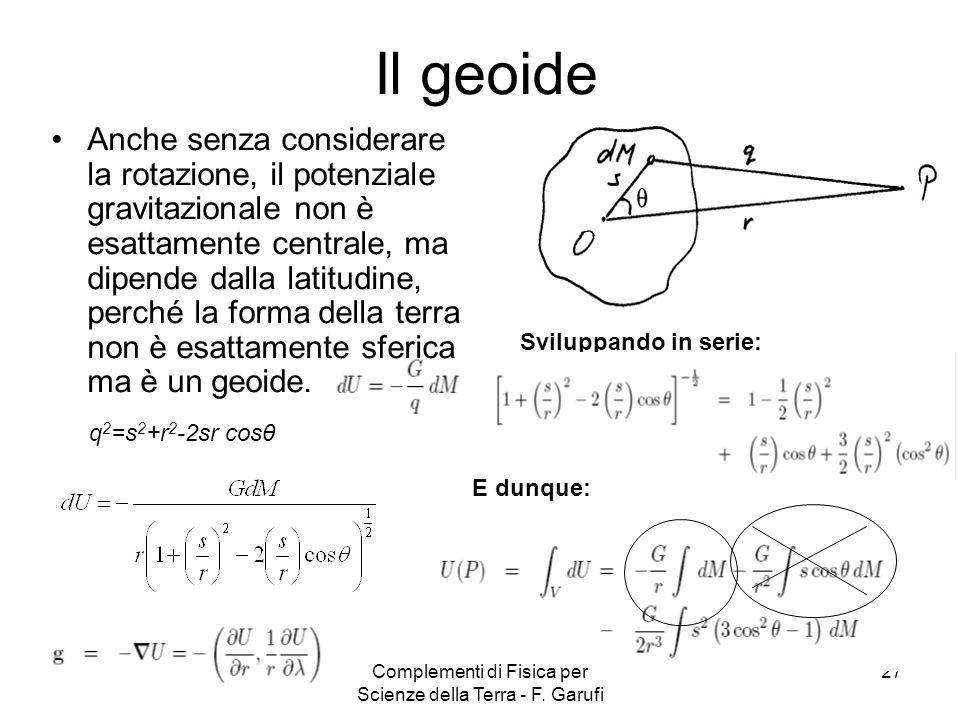 Complementi di Fisica per Scienze della Terra - F. Garufi 27 Il geoide Anche senza considerare la rotazione, il potenziale gravitazionale non è esatta