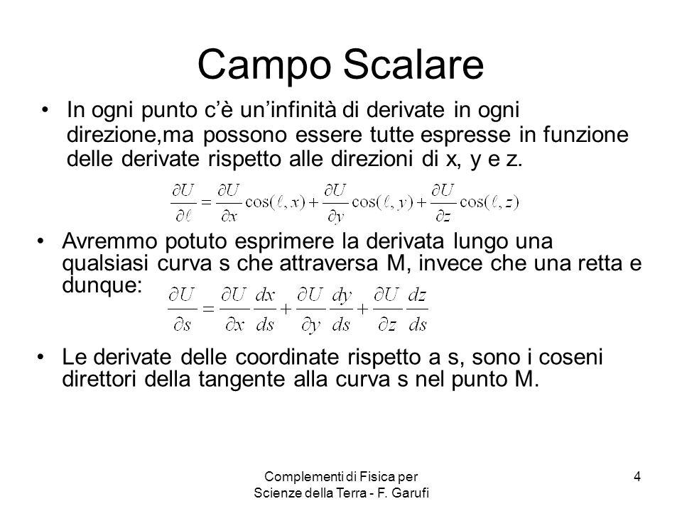 Complementi di Fisica per Scienze della Terra - F. Garufi 4 Campo Scalare In ogni punto cè uninfinità di derivate in ogni direzione,ma possono essere