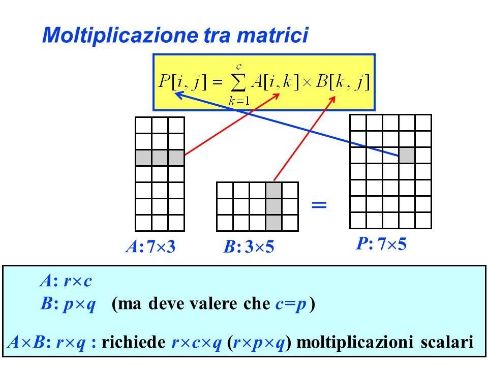 Moltiplicazione tra matrici A: r c B: p q (ma deve valere che c = p ) A B: r q : richiede r c q (r p q) moltiplicazioni scalari 7 33 5 A:A: B:B: = 7 5