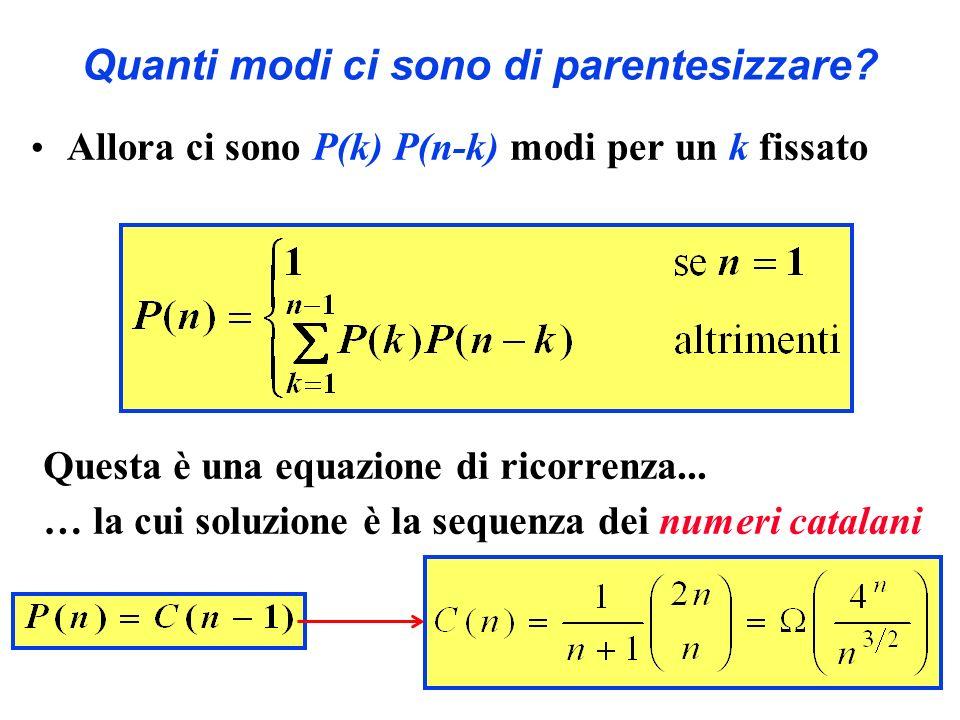 Quanti modi ci sono di parentesizzare? Allora ci sono P(k) P(n-k) modi per un k fissato Questa è una equazione di ricorrenza... … la cui soluzione è l