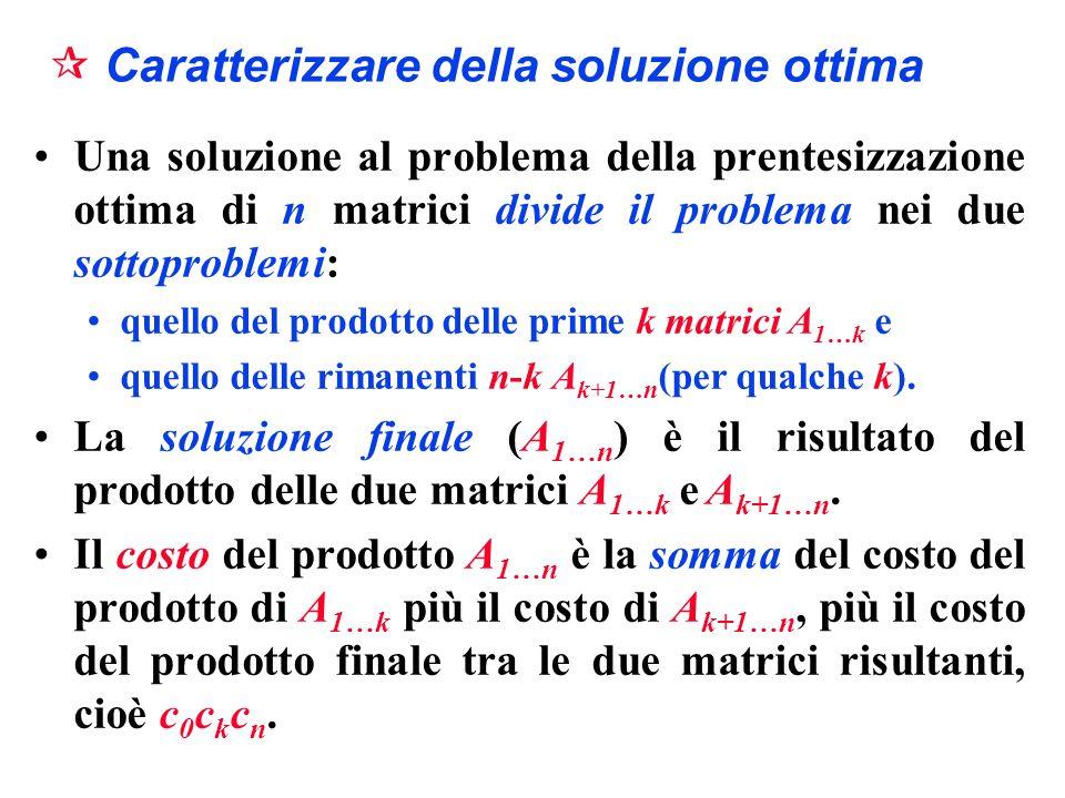 Caratterizzare della soluzione ottima Una soluzione al problema della prentesizzazione ottima di n matrici divide il problema nei due sottoproblemi: q