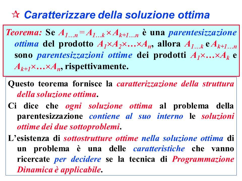 Caratterizzare della soluzione ottima Questo teorema fornisce la caratterizzazione della struttura della soluzione ottima. Ci dice che ogni soluzione