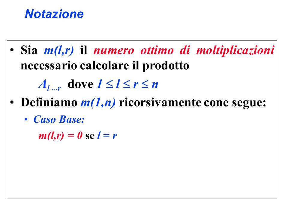 Notazione Sia m(l,r) il numero ottimo di moltiplicazioni necessario calcolare il prodotto A l … r dove 1 l r n Definiamo m(1,n) ricorsivamente cone se