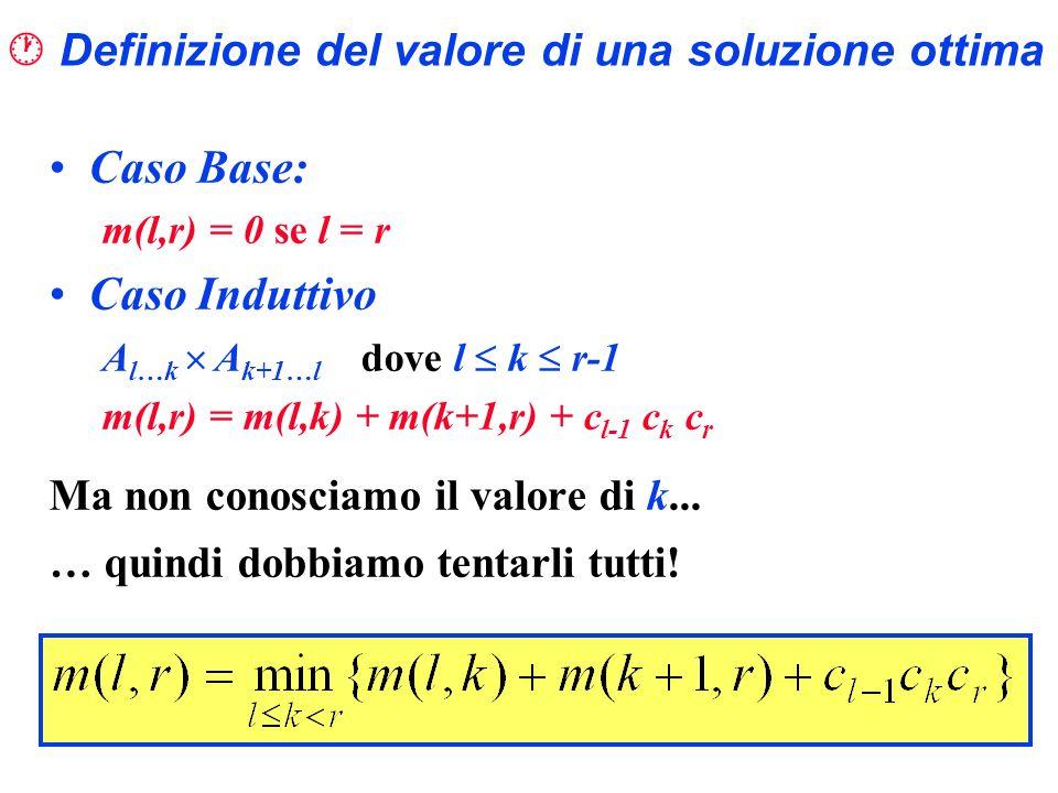 Definizione del valore di una soluzione ottima Caso Base: m(l,r) = 0 se l = r Caso Induttivo A l…k A k+1…l dove l k r-1 m(l,r) = m(l,k) + m(k+1,r) + c