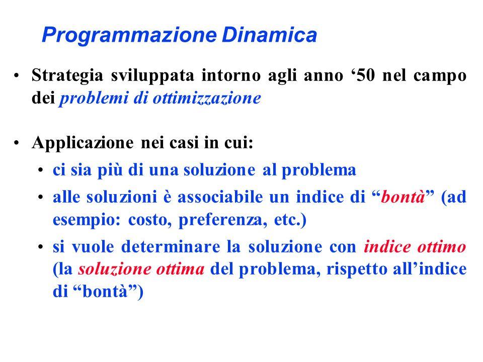 Programmazione Dinamica Strategia sviluppata intorno agli anno 50 nel campo dei problemi di ottimizzazione Applicazione nei casi in cui: ci sia più di