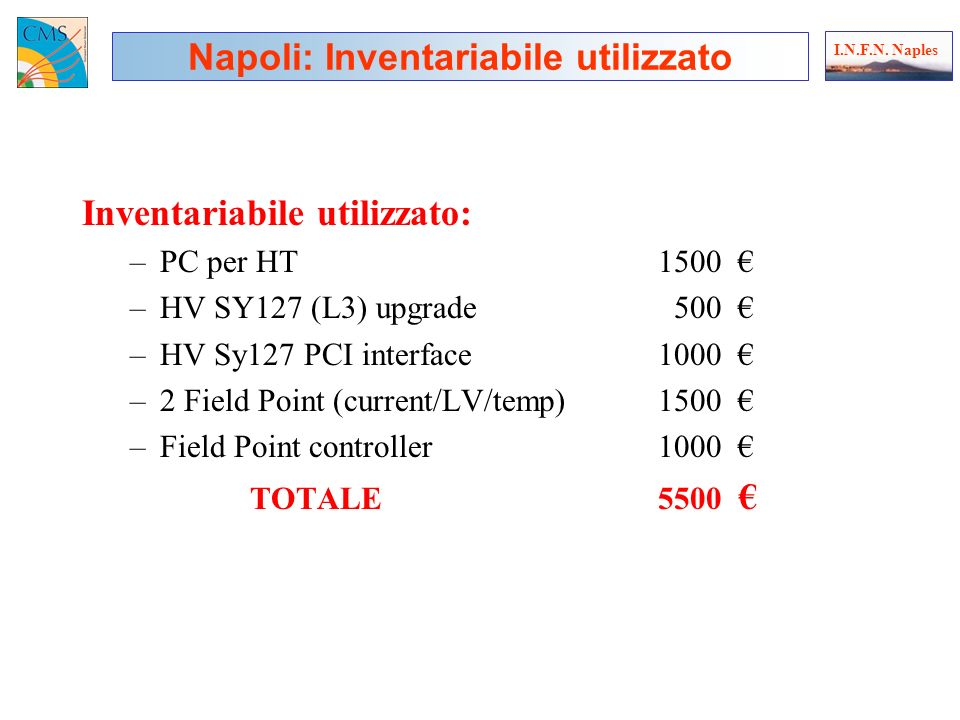 Inventariabile utilizzato: –PC per HT1500 –HV SY127 (L3) upgrade 500 –HV Sy127 PCI interface 1000 –2 Field Point (current/LV/temp)1500 –Field Point controller1000 TOTALE5500 Napoli: Inventariabile utilizzato I.N.F.N.