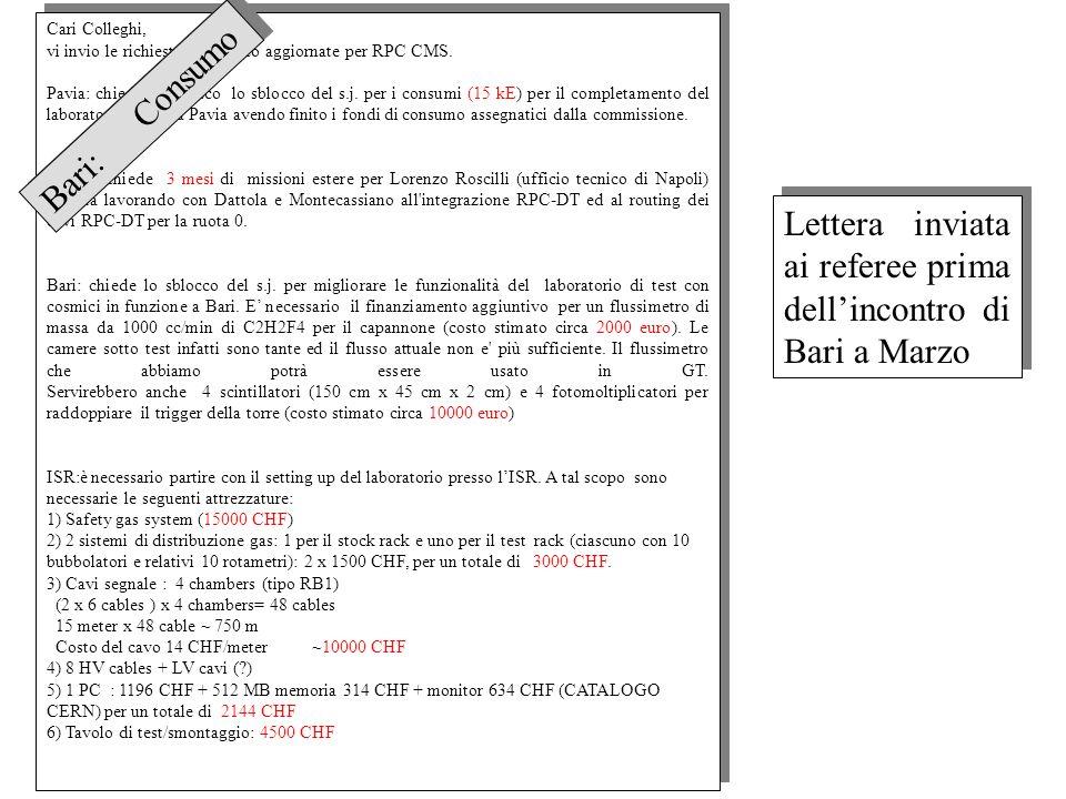 Cari Colleghi, vi invio le richieste di sblocco aggiornate per RPC CMS. Pavia: chiede lo sblocco lo sblocco del s.j. per i consumi (15 kE) per il comp
