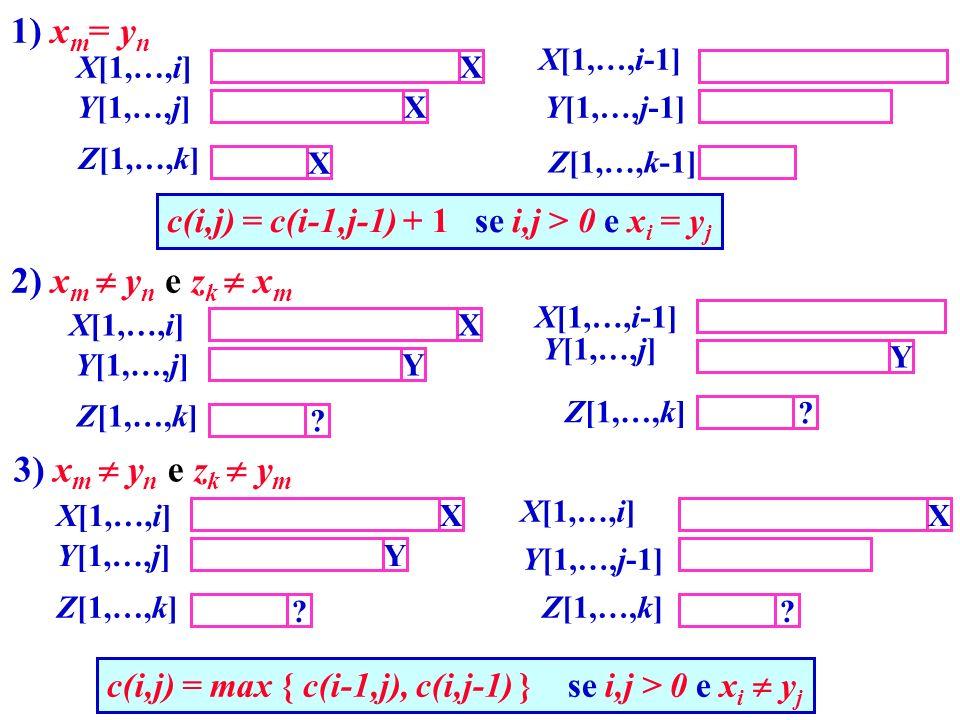 c(i,j) = c(i-1,j-1) + 1 se i,j > 0 e x i = y j c(i,j) = max { c(i-1,j), c(i,j-1) } se i,j > 0 e x i y j X X X X[1,…,i] Y[1,…,j] X[1,…,i-1] Y[1,…,j-1]