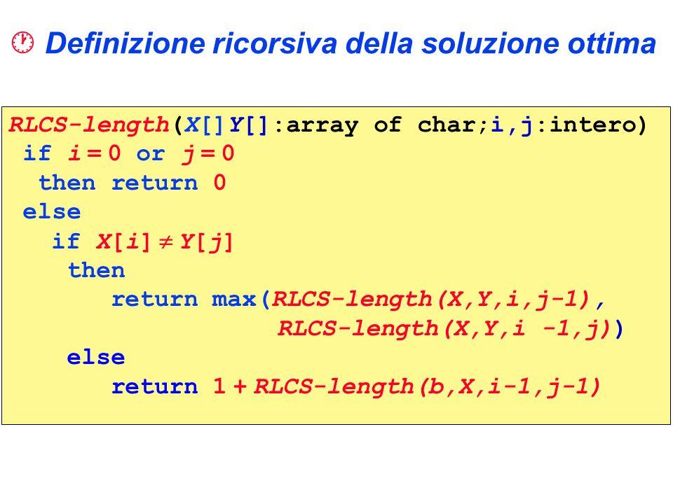 Definizione ricorsiva della soluzione ottima RLCS-length(X[]Y[]:array of char;i,j:intero) if i = 0 or j = 0 then return 0 else if X[i] Y[j] then retur