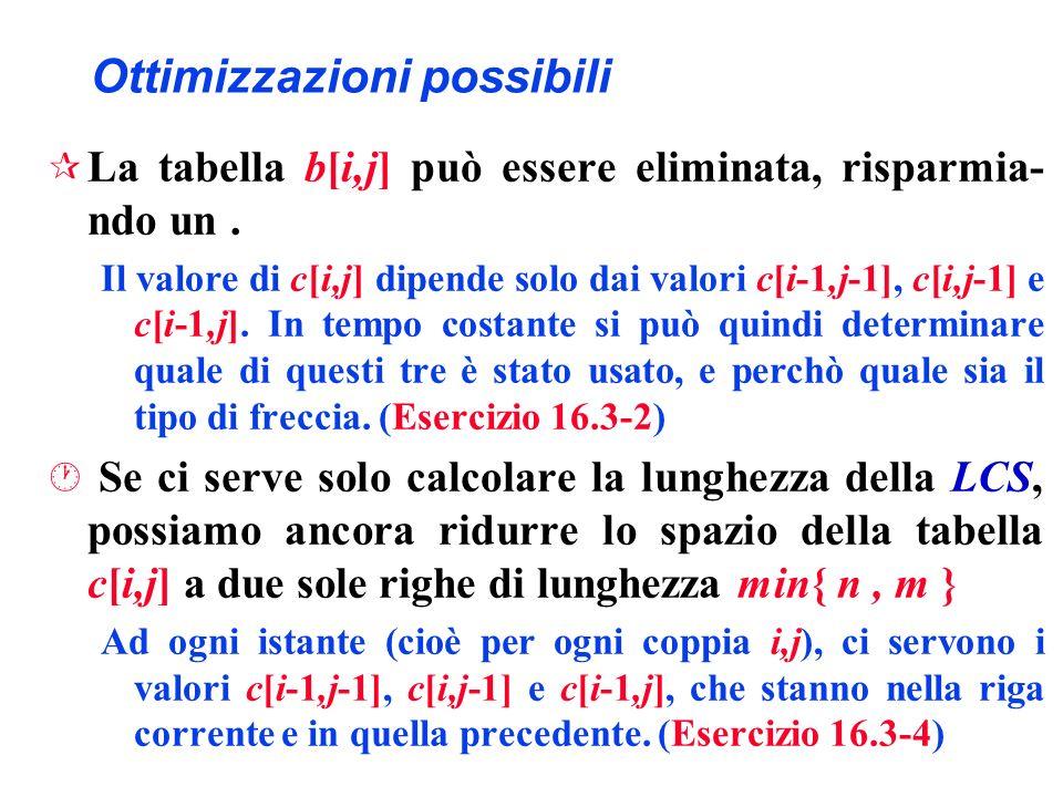 Ottimizzazioni possibili ¶ La tabella b[i,j] può essere eliminata, risparmia- ndo un. Il valore di c[i,j] dipende solo dai valori c[i-1,j-1], c[i,j-1]