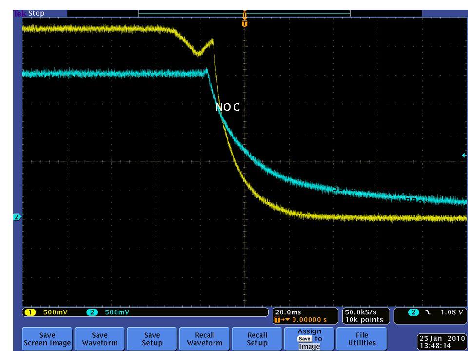 Abbiamo cercato invano di riprodurre leffetto di spike senza il carico (e tornato alla caen) con le schede ma il massimo e questo comportament0 Sulle