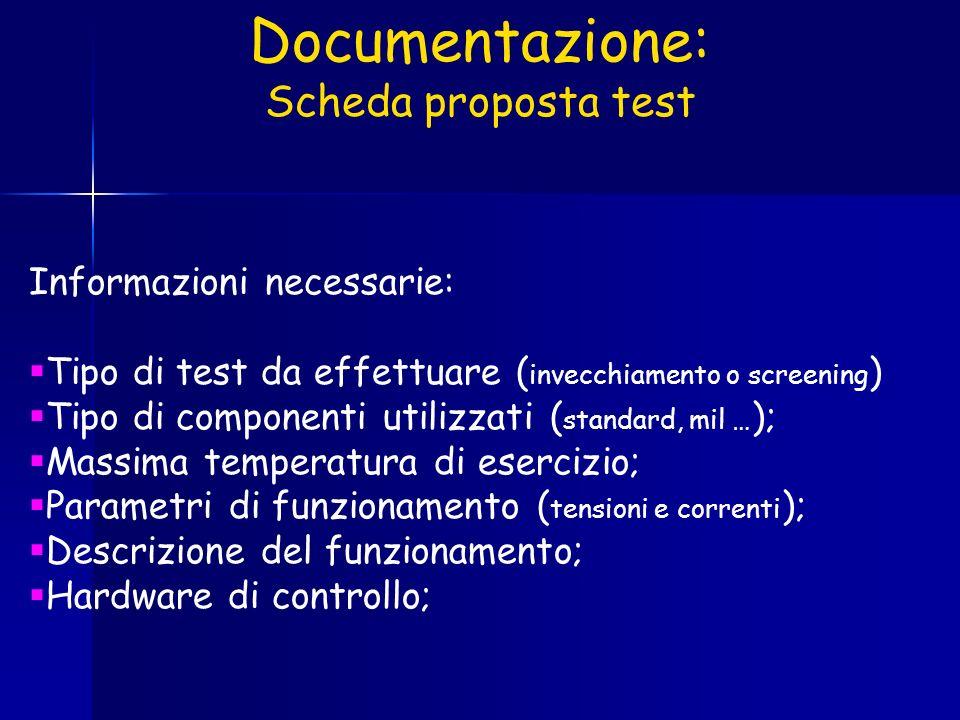 Documentazione: Scheda proposta test Informazioni necessarie: Tipo di test da effettuare ( invecchiamento o screening ) Tipo di componenti utilizzati