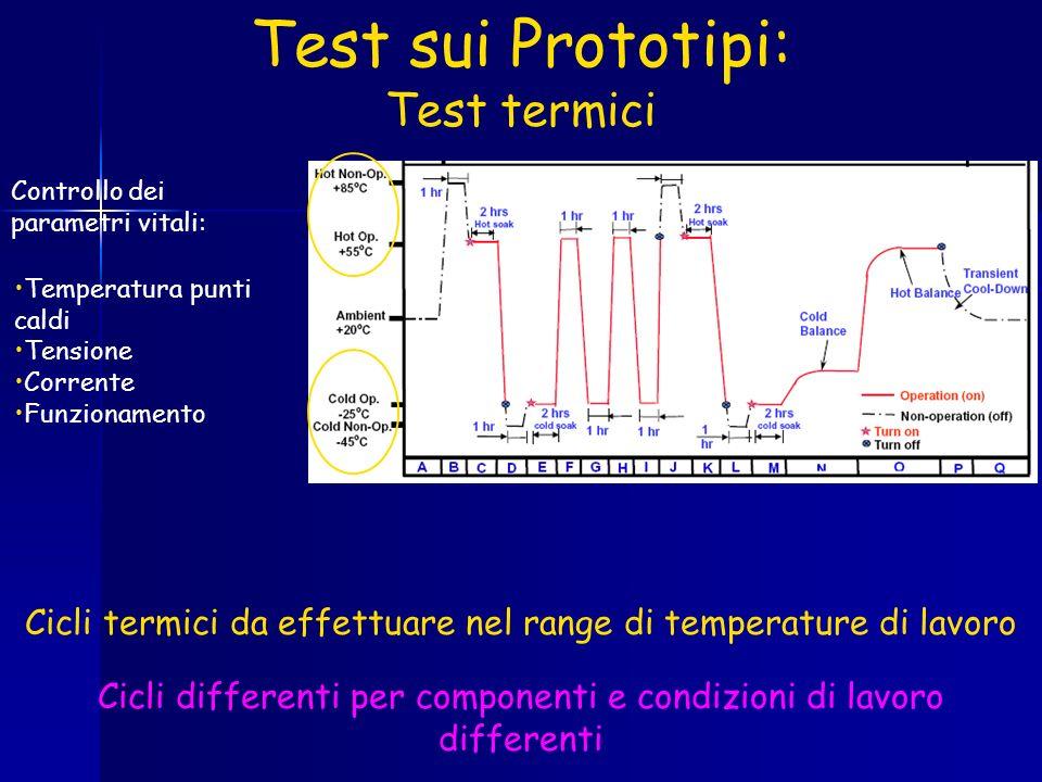 Test sui Prototipi: Test termici Cicli termici da effettuare nel range di temperature di lavoro Cicli differenti per componenti e condizioni di lavoro differenti Controllo dei parametri vitali: Temperatura punti caldi Tensione Corrente Funzionamento