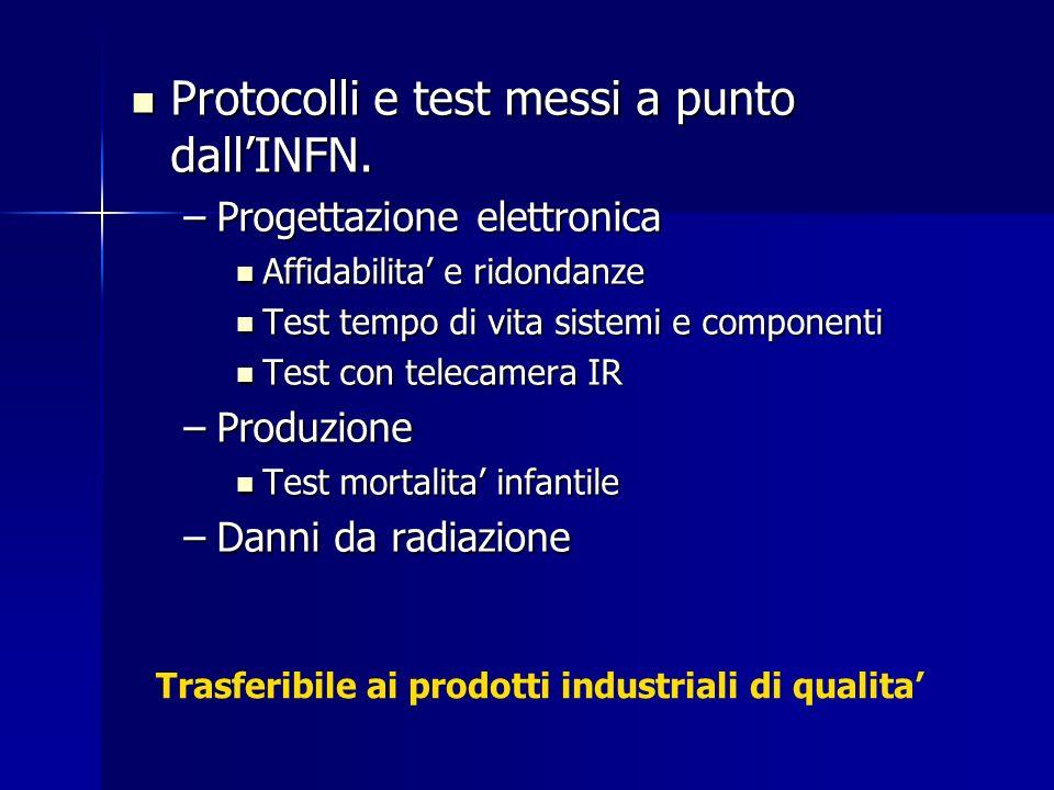 Protocolli e test messi a punto dallINFN. Protocolli e test messi a punto dallINFN. –Progettazione elettronica Affidabilita e ridondanze Affidabilita