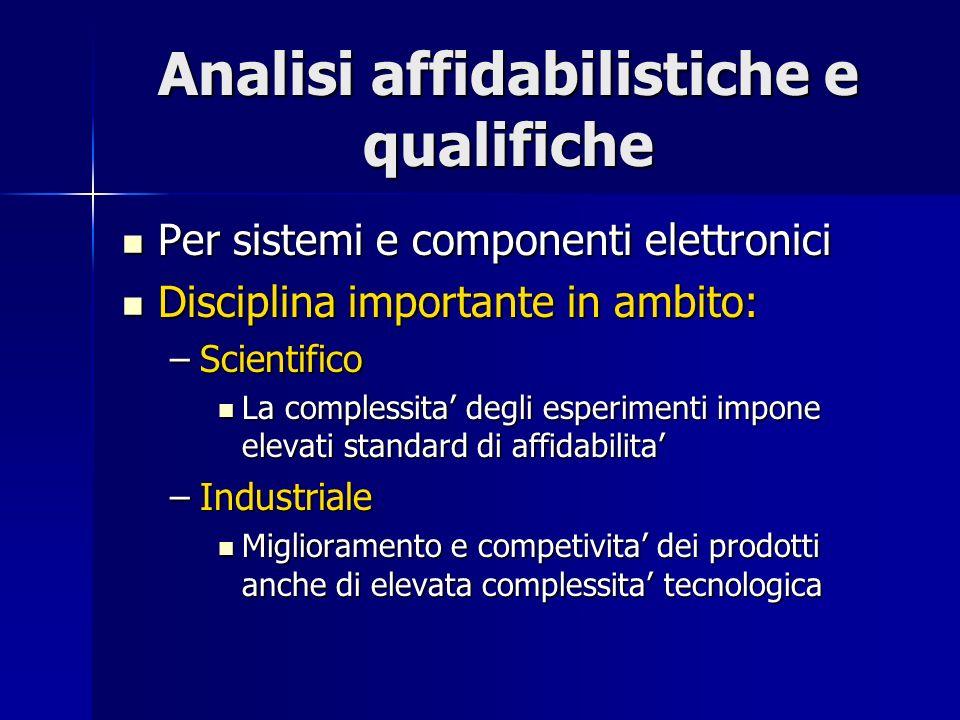 Analisi affidabilistiche e qualifiche Per sistemi e componenti elettronici Per sistemi e componenti elettronici Disciplina importante in ambito: Disci