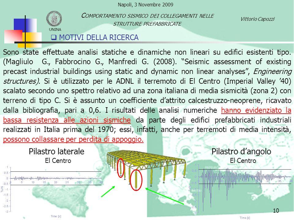 10 Sono state effettuate analisi statiche e dinamiche non lineari su edifici esistenti tipo. (Magliulo G., Fabbrocino G., Manfredi G. (2008). Seismic