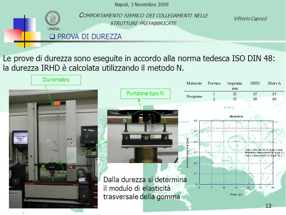 Le prove di durezza sono eseguite in accordo alla norma tedesca ISO DIN 48: la durezza IRHD è calcolata utilizzando il metodo N. Dalla durezza si dete