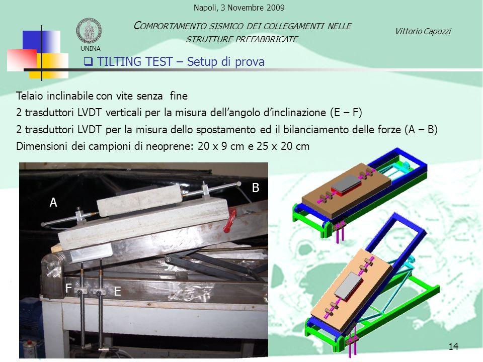 TILTING TEST – Setup di prova 14 Telaio inclinabile con vite senza fine 2 trasduttori LVDT verticali per la misura dellangolo dinclinazione (E – F) 2