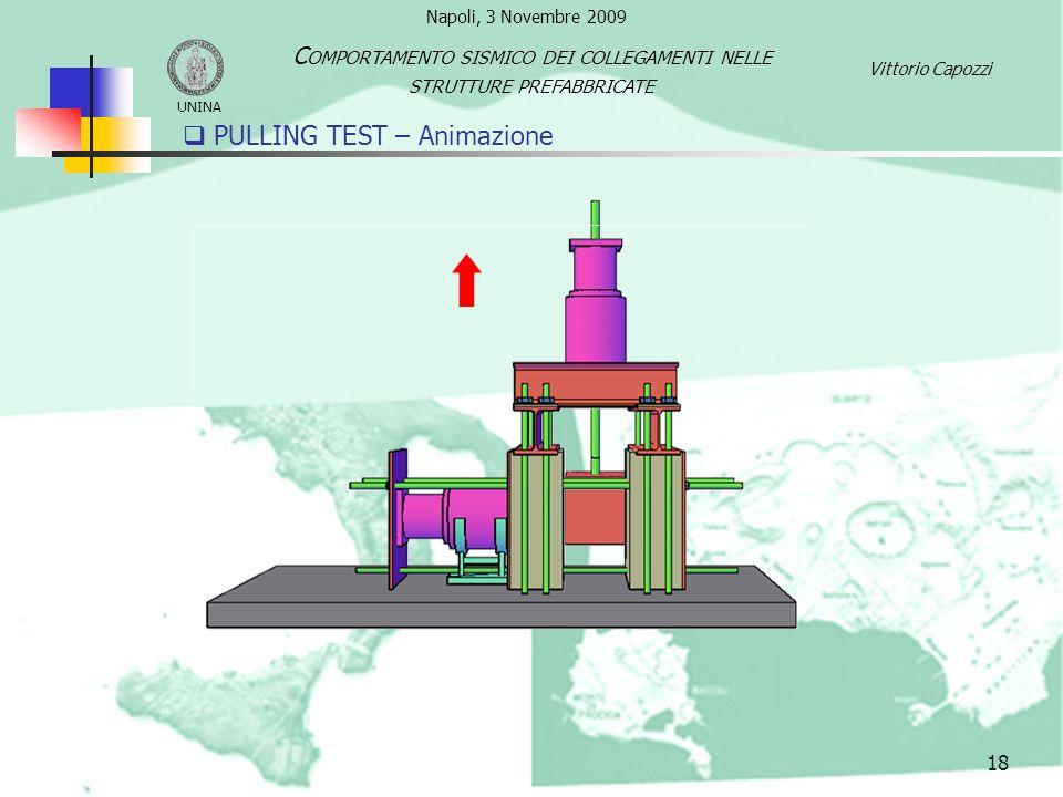 PULLING TEST – Animazione 18 UNINA C OMPORTAMENTO SISMICO DEI COLLEGAMENTI NELLE STRUTTURE PREFABBRICATE Vittorio Capozzi Napoli, 3 Novembre 2009