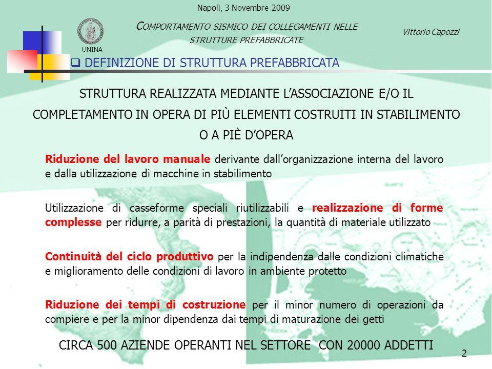 DEFINIZIONE DI STRUTTURA PREFABBRICATA 2 UNINA C OMPORTAMENTO SISMICO DEI COLLEGAMENTI NELLE STRUTTURE PREFABBRICATE Vittorio Capozzi Riduzione del la