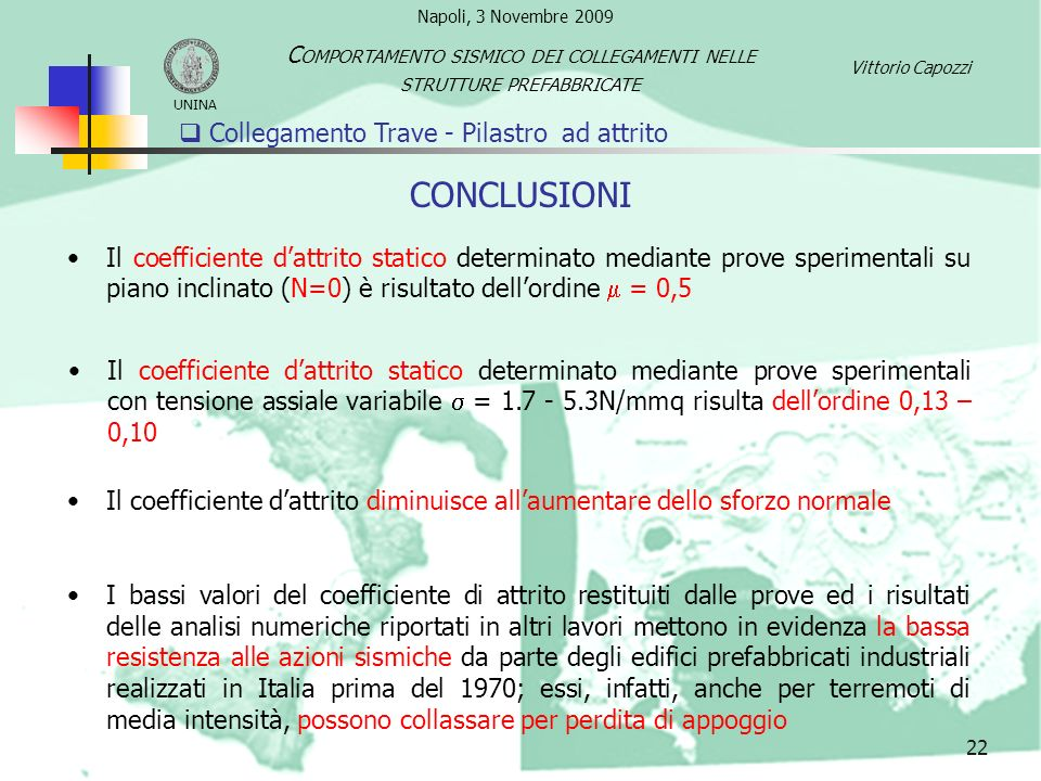 Collegamento Trave - Pilastro ad attrito 22 CONCLUSIONI Il coefficiente dattrito statico determinato mediante prove sperimentali su piano inclinato (N