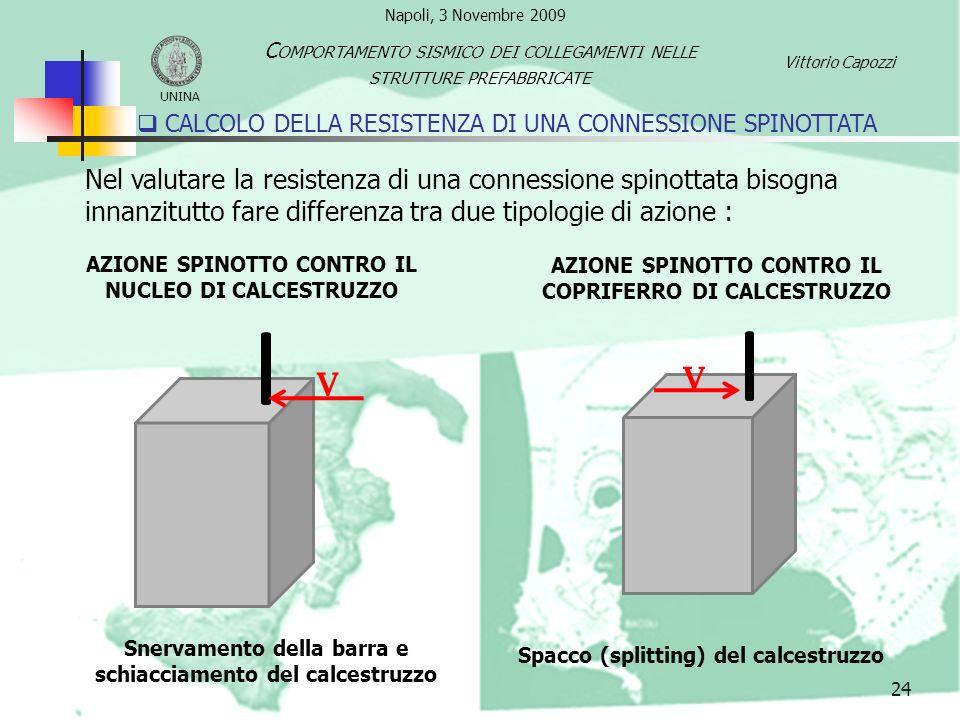 25 Le formulazioni analitiche disponibili in letteratura sono : Istruzioni CNR 10025 del 1984 Tensione di progetto dell acciaio Resistenza a compressione di progetto del calcestruzzo Diametro della barra Coefficiente correttivo =1.2 in assenza confinamento CALCOLO DELLA RESISTENZA DI UNA CONNESSIONE SPINOTTATA UNINA C OMPORTAMENTO SISMICO DEI COLLEGAMENTI NELLE STRUTTURE PREFABBRICATE Vittorio Capozzi Napoli, 3 Novembre 2009