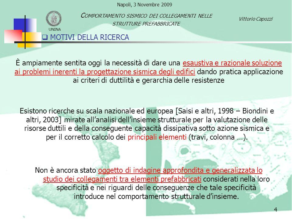 MOTIVI DELLA RICERCA 4 Non è ancora stato oggetto di indagine approfondita e generalizzata lo studio dei collegamenti tra elementi prefabbricati consi