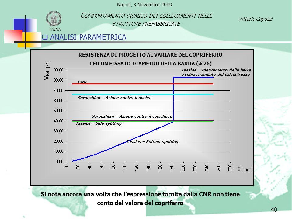 41 ANALISI PARAMETRICA: CONCLUSIONI In particolare si è constatato che non esiste una formulazione presente nella CNR 10025 che consenta di progettare i collegamenti tenendo conto di tutti i parametri geometrici e meccanici che intervengono.