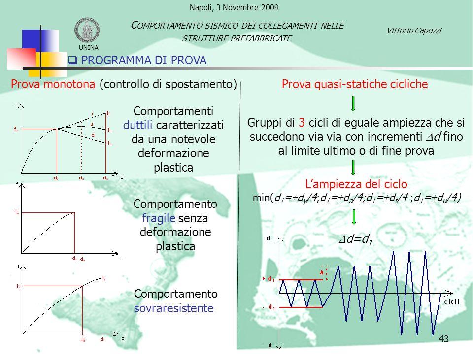 43 PROGRAMMA DI PROVA Prova monotona (controllo di spostamento) Gruppi di 3 cicli di eguale ampiezza che si succedono via via con incrementi d fino al