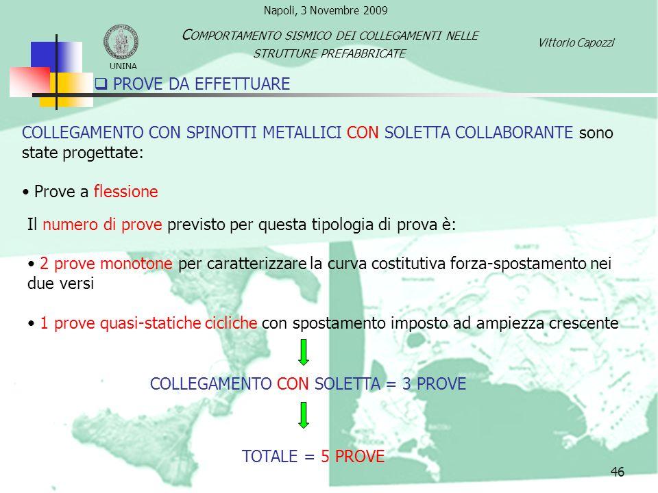 PROVE DA EFFETTUARE 46 COLLEGAMENTO CON SPINOTTI METALLICI CON SOLETTA COLLABORANTE sono state progettate: Prove a flessione Il numero di prove previs