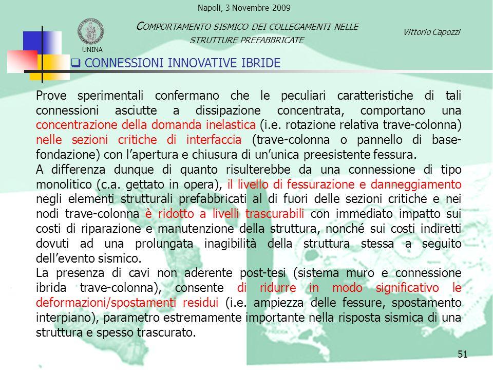 CONNESSIONI INNOVATIVE IBRIDE 51 UNINA C OMPORTAMENTO SISMICO DEI COLLEGAMENTI NELLE STRUTTURE PREFABBRICATE Vittorio Capozzi Prove sperimentali confe