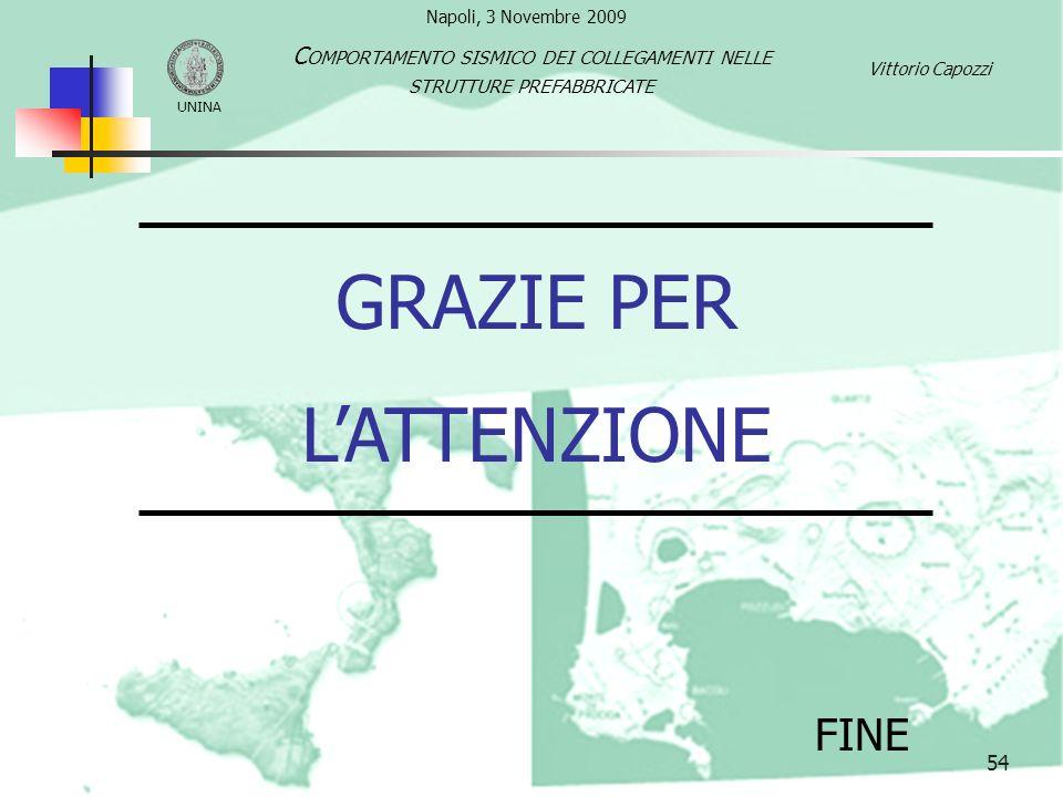 54 GRAZIE PER LATTENZIONE FINE UNINA C OMPORTAMENTO SISMICO DEI COLLEGAMENTI NELLE STRUTTURE PREFABBRICATE Vittorio Capozzi Napoli, 3 Novembre 2009